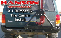 Hanson XJ Cherokee rear bumper and tire carrier install
